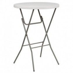 MFO 32'' Round Granite White Plastic Bar Height Folding Table