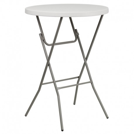 MFO 32'' Round Granite White Plastic Bar Height Folding Table