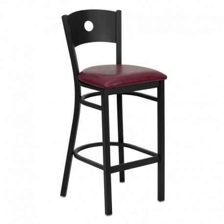 MFO Black Circle Back Metal Restaurant Bar Stool - Burgundy Vinyl Seat