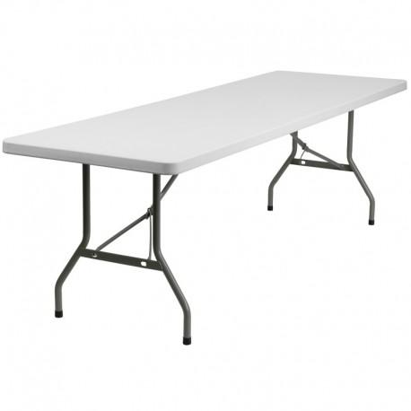 MFO 30''W x 96''L Granite White Plastic Folding Table