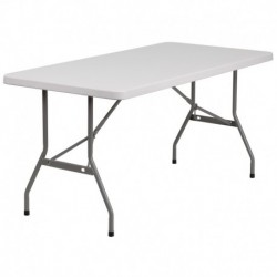 MFO 30''W x 60''L Granite White Plastic Folding Table