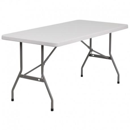 MFO 30''W x 60''L Granite White Plastic Folding Table