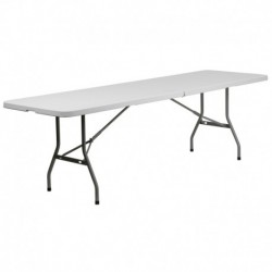 MFO 30''W x 96''L Bi-Fold Granite White Plastic Folding Table
