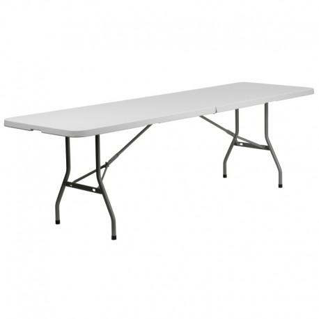 MFO 30''W x 96''L Bi-Fold Granite White Plastic Folding Table