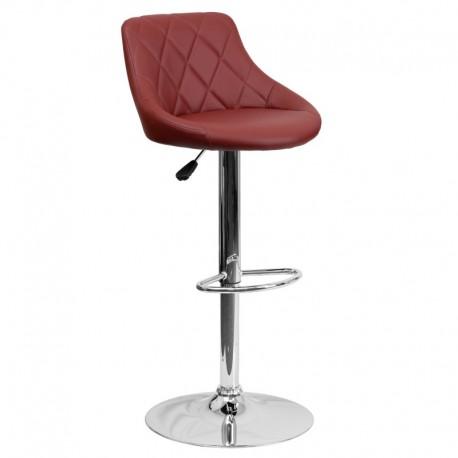 MFO Contemporary Burgundy Vinyl Bucket Seat Adjustable Height Bar Stool with Chrome Base