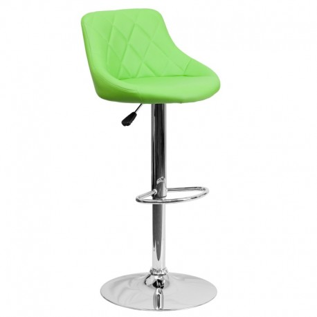 MFO Contemporary Green Vinyl Bucket Seat Adjustable Height Bar Stool with Chrome Base