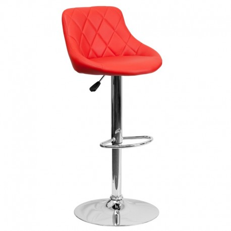 MFO Contemporary Red Vinyl Bucket Seat Adjustable Height Bar Stool with Chrome Base