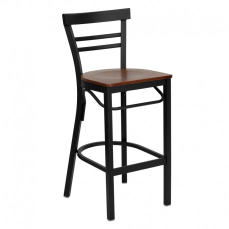 MFO Black Ladder Back Metal Restaurant Bar Stool - Cherry Wood Seat