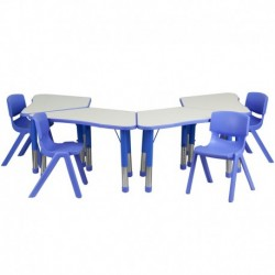 MFO Blue Trapezoid Plastic Activity Table Configuration with 4 School Stack Chairs
