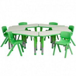 MFO Green Trapezoid Plastic Activity Table Configuration with 6 School Stack Chairs