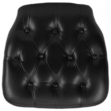 MFO Hard Black Tufted Vinyl Chiavari Chair Cushion