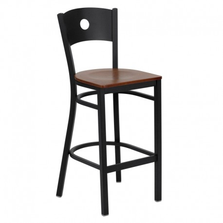 MFO Black Circle Back Metal Restaurant Bar Stool - Cherry Wood Seat