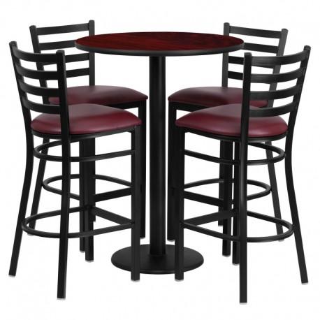 MFO 30'' Round Mahogany Laminate Table Set with 4 Ladder Back Metal Bar Stools - Burgundy Vinyl Seat