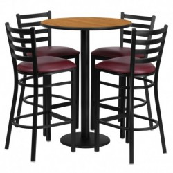 MFO 30'' Round Natural Laminate Table Set with 4 Ladder Back Metal Bar Stools - Burgundy Vinyl Seat
