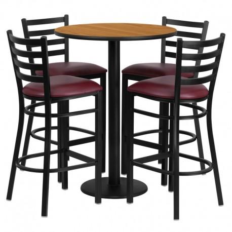 MFO 30'' Round Natural Laminate Table Set with 4 Ladder Back Metal Bar Stools - Burgundy Vinyl Seat