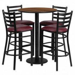 MFO 30'' Round Walnut Laminate Table Set with 4 Ladder Back Metal Bar Stools - Burgundy Vinyl Seat