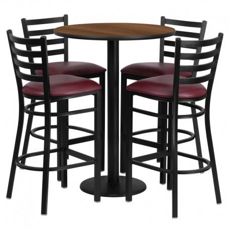 MFO 30'' Round Walnut Laminate Table Set with 4 Ladder Back Metal Bar Stools - Burgundy Vinyl Seat