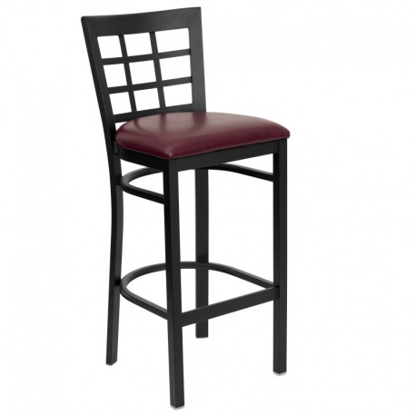 MFO Black Window Back Metal Restaurant Bar Stool - Burgundy Vinyl Seat