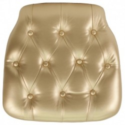 MFO Hard Gold Tufted Vinyl Chiavari Chair Cushion