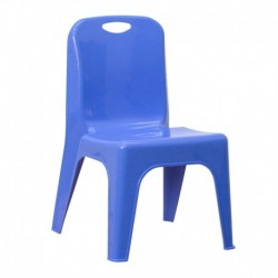 MFO Blue Plastic Stackable School Chair with Carrying Handle and 11'' Seat Height