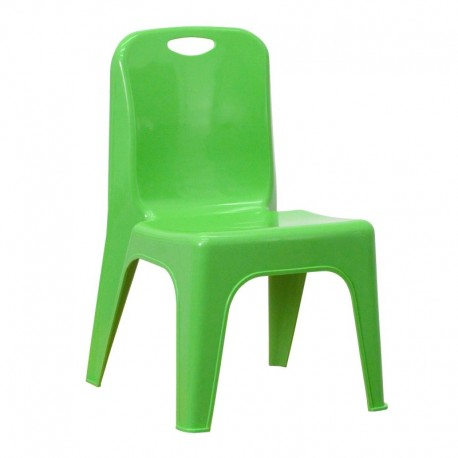 MFO Green Plastic Stackable School Chair with Carrying Handle and 11'' Seat Height