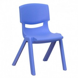 MFO Blue Plastic Stackable School Chair with 12'' Seat Height