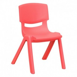 MFO Red Plastic Stackable School Chair with 12'' Seat Height