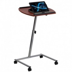 MFO Angle and Height Adjustable Mobile Laptop Computer Table with Mahogany Top