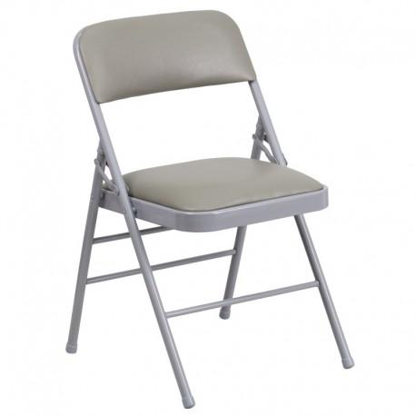 MFO Triple Braced Gray Vinyl Upholstered Metal Folding Chair