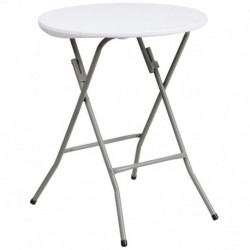 MFO 24'' Round Granite White Plastic Folding Table