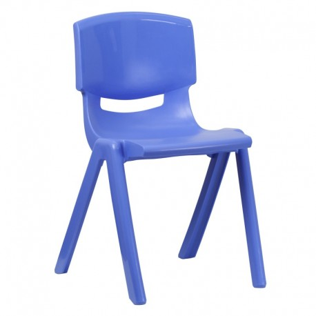MFO Blue Plastic Stackable School Chair with 18'' Seat Height