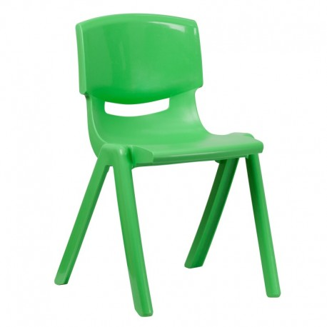MFO Green Plastic Stackable School Chair with 18'' Seat Height