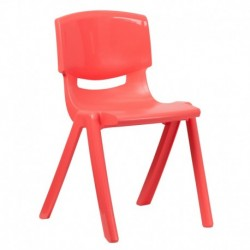 MFO Red Plastic Stackable School Chair with 18'' Seat Height