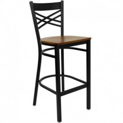 MFO Black ''X'' Back Metal Restaurant Bar Stool - Cherry Wood Seat