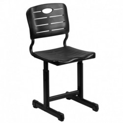 MFO Adjustable Height Black Student Chair with Black Pedestal Frame
