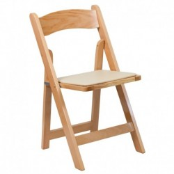 MFO Natural Wood Folding Chair with Vinyl Padded Seat