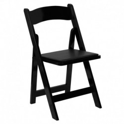 MFO Black Wood Folding Chair with Vinyl Padded Seat