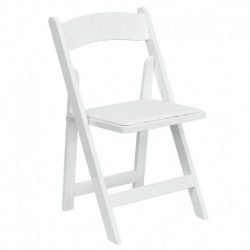 MFO White Wood Folding Chair with Vinyl Padded Seat