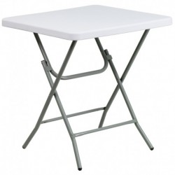 MFO 27'' Square Granite White Plastic Folding Table