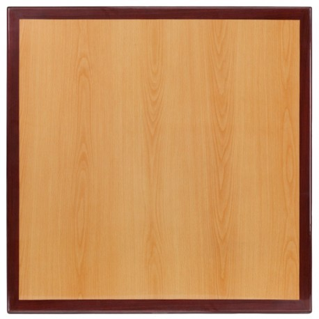 MFO 24'' Square Two-Tone Resin Cherry and Mahogany Table Top