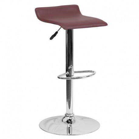 MFO Contemporary Burgundy Vinyl Adjustable Height Bar Stool with Chrome Base