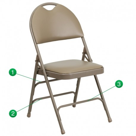 MFO Extra Large Ultra-Premium Triple Braced Beige Vinyl Metal Folding Chair with Easy-Carry Handle