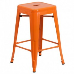 MFO 24'' Backless Orange Metal Counter Height Stool