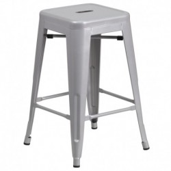 MFO 24'' Backless Silver Metal Counter Height Stool