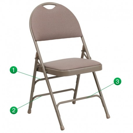 MFO Extra Large Ultra-Premium Triple Braced Beige Fabric Metal Folding Chair with Easy-Carry Handle