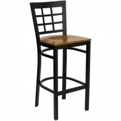 MFO Black Window Back Metal Restaurant Bar Stool - Cherry Wood Seat