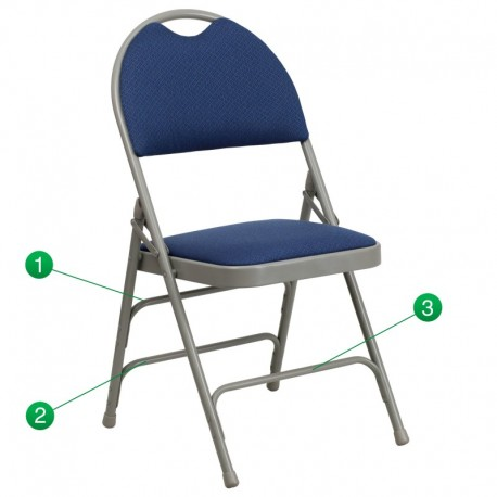 MFO Extra Large Ultra-Premium Triple Braced Navy Fabric Metal Folding Chair with Easy-Carry Handle