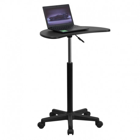 MFO Height Adjustable Mobile Laptop Computer Desk with Black Top