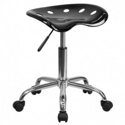 MFO Vibrant Black Tractor Seat and Chrome Stool