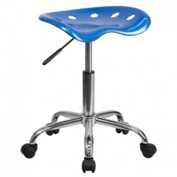 MFO Vibrant Bright Blue Tractor Seat and Chrome Stool